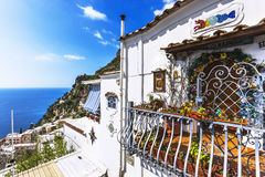 View of Positano with terraced houses Royalty Free Stock Photos