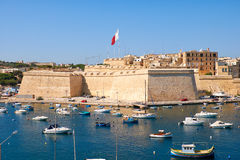 The view of Post of Castile from Kalkara over the Kalkara creek, Royalty Free Stock Images