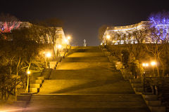 View of Potemkin Stairs and the Monument to Duke de Richelieu. Odessa, Ukraine. 18 March 2016. Royalty Free Stock Photography