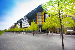 View of Potsdamer Platz in Berlin, Germany. View of Potsdamer Platz with trees row in Berlin, Germany Stock Image