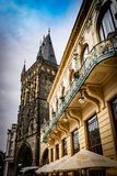 View of The powder tower in Prague and the side of the Municipal House stock image