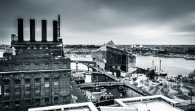 View of the Power Plant and the Inner Harbor from a parking gara Stock Image