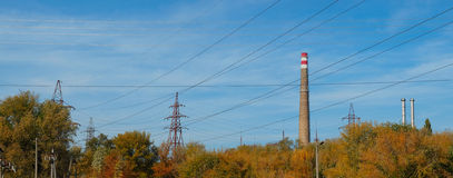 View, power station surrounded by trees Royalty Free Stock Photography