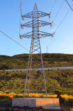 View of Power transmission tower. Power transmission tower on blue sky royalty free stock photo