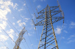 View of Power transmission tower stock images