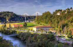 View of Poya bridge, Fribourg, Switzerland, HDR Stock Photo
