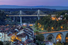 View of Poya and Zaehringen bridge, Fribourg, Stock Photo