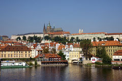 View of Prague. River and castle Royalty Free Stock Photo