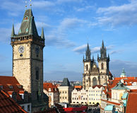 View of Prague. Old Town  square and Tyn church, Prague Stock Photos