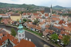 View of Prague from above. Red tiled roofs. Vltava River. royalty free stock photography