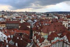 View of Prague from astronomical clock tower Stock Photos