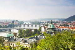 View of Prague and the bridges in the early morning, Royalty Free Stock Photo