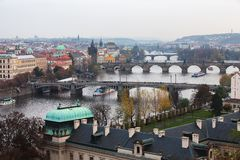 View of Prague, the bridges over the Vltava Stock Photos