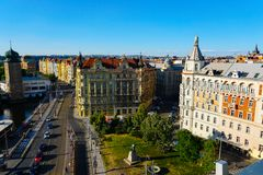 View of Prague with buildings and road trafic, Czech Republic. stock photography