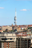View of Prague with buildings and Zizkov television tower Stock Photos