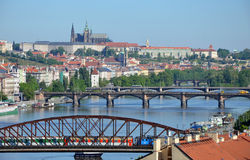 View of Prague Castle across the river Vltava Royalty Free Stock Photo