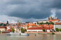 View on Prague Castle across Vltava river after the storm Stock Photo