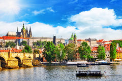 View of Prague Castle from Charles Bridge. stock photos