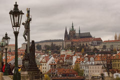 View of Prague Castle from the Charles Bridge Royalty Free Stock Image