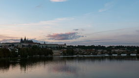 View of Prague Castle and the Charles Bridge at sunset stock footage