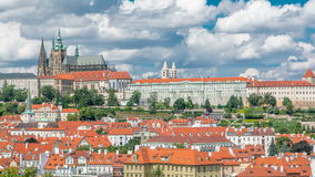 View on Prague castle from Charles Bridge tower timelapse stock video footage
