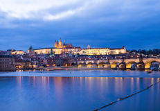 The view of the Prague castle, Charles bridge and the Vltava riv Stock Photography