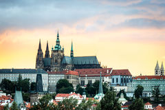 View of the Prague Castle in the evening, Czech Republic Stock Image