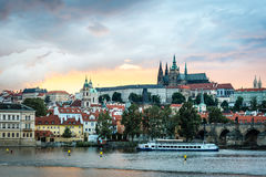 View of the Prague Castle in the evening, Czech Republic Stock Images