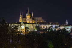 View of Prague castle in evening Stock Photos