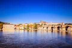 Old Prague seen from the Novotny footbridge Stock Image