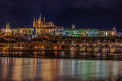 View of Prague Castle at Night Stock Photos