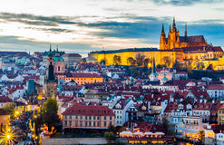 A view of the Prague Castle at Night Time, Czech Republic Stock Images