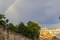View from the Prague Castle in the old town and a rainbow after the rain Royalty Free Stock Photos