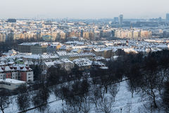 The view from the Prague castle over Prague city. Prague panorama with snow roofs stock photos