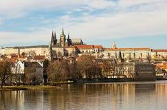 View of the Prague Castle saint vita. River Vltava small country. Prague Czech Republic February 2017 Royalty Free Stock Photo