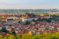 View of Prague Castle with St. Vitus Cathedral from Petrin Tower, Czech Republic Royalty Free Stock Photography