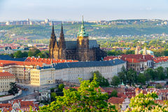 View of Prague Castle with St. Vitus Cathedral from Petrin Tower, Czech Republic Royalty Free Stock Image