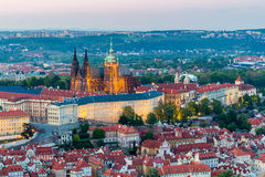 View of Prague Castle with St. Vitus Cathedral from Petrin Tower, Czech Republic Stock Photos