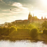 View of Prague castle on sunset Stock Photos