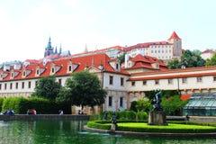 View of Prague Castle. Valdstain's garden in capital city of Czech Republic Stock Photos