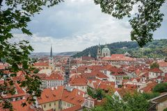 View from Prague Castle. Over the rooftops of the city royalty free stock images