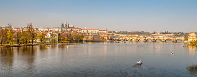 View of Prague Castle and the Vltava river Stock Images