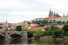 A view of the Prague Castle and the Vltava River in Prague Royalty Free Stock Image