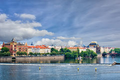 View on Prague from Charles bridge on blue sky background Royalty Free Stock Photos