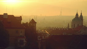 View of the Prague city, Czech republic, panorama in the early morning from the walls of Hradcany castle stock video footage