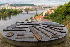 View of Prague city and Vltava from Vysehrad hill Royalty Free Stock Photo