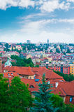 View of Prague city from Vysehrad Stock Photo