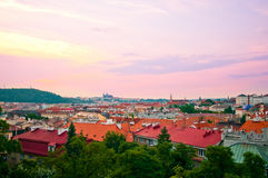 View of Prague city from Vysehrad hill. Sunset Royalty Free Stock Images