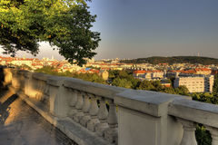 View on Prague cityscape behind a decorative stone wall Stock Photography