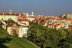 View on Prague cityscape, Vinohrady and Nusle area, from the popular Havlicek park Stock Image